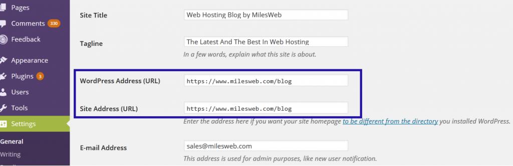 WordPress address