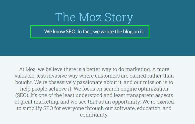 Moz story tagline