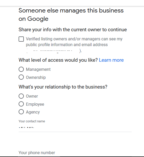 Access form