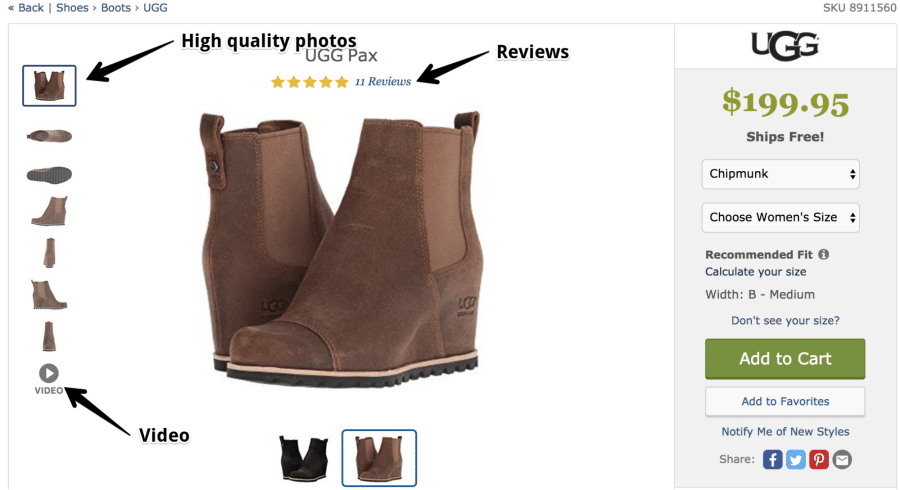 product page clarity